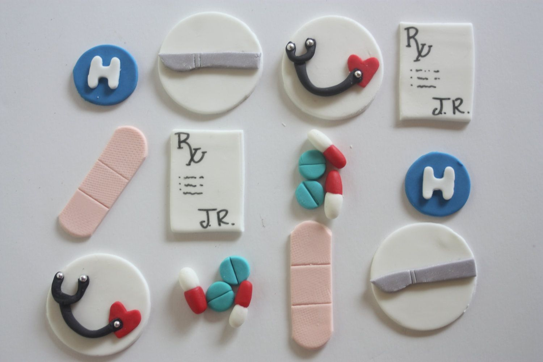 12 Fondant Cupcake Toppersdoctor Surgeon Medical By Pastelfiesta 14 00