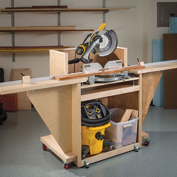 Mobile mitersaw stand woodworking plan by woodcraft - Table pour scie a onglet ...