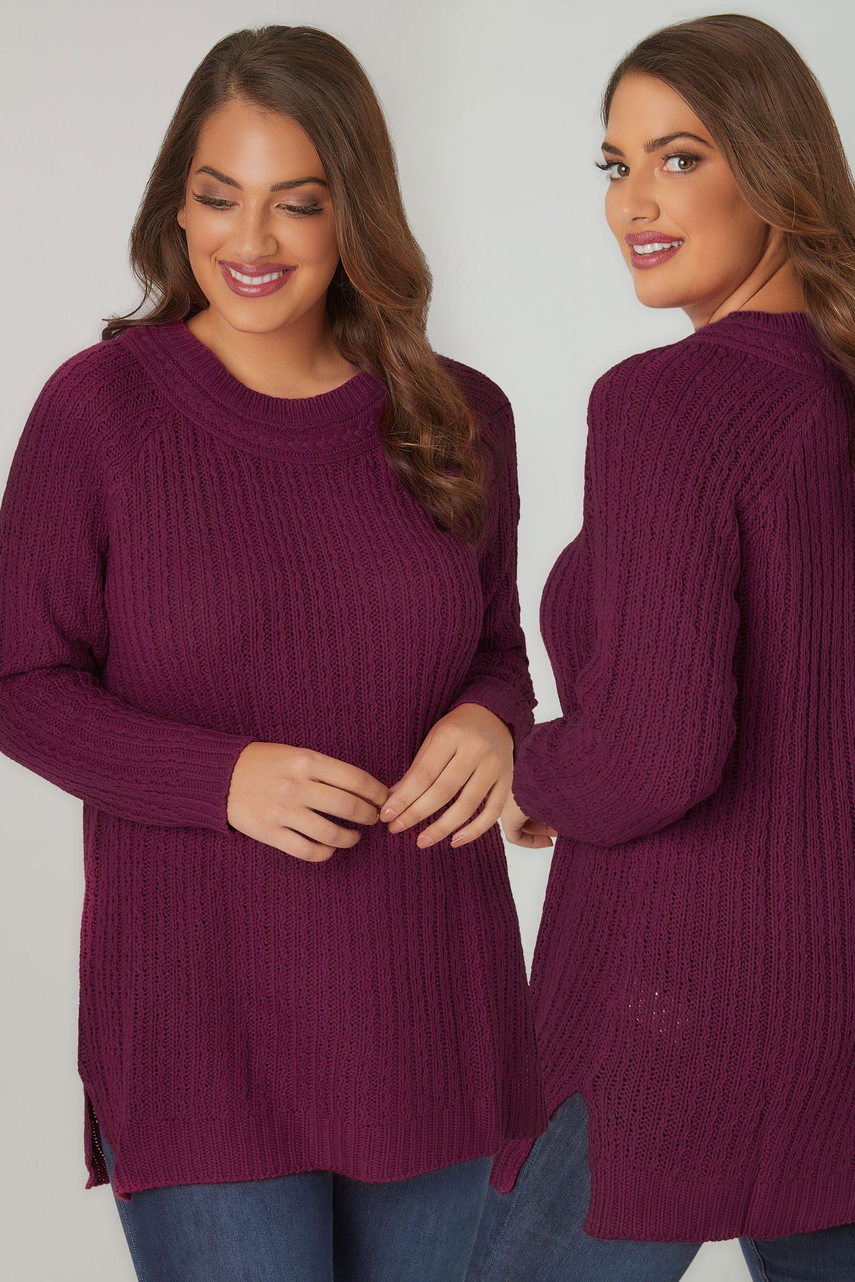 Dark Purple Longline Jumper With Cable Knit Trim, Plus size