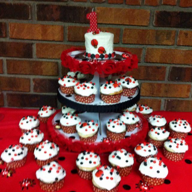 Incredible Ladybug 1St Birthday Cupcakes With Images Ladybug 1St Funny Birthday Cards Online Kookostrdamsfinfo