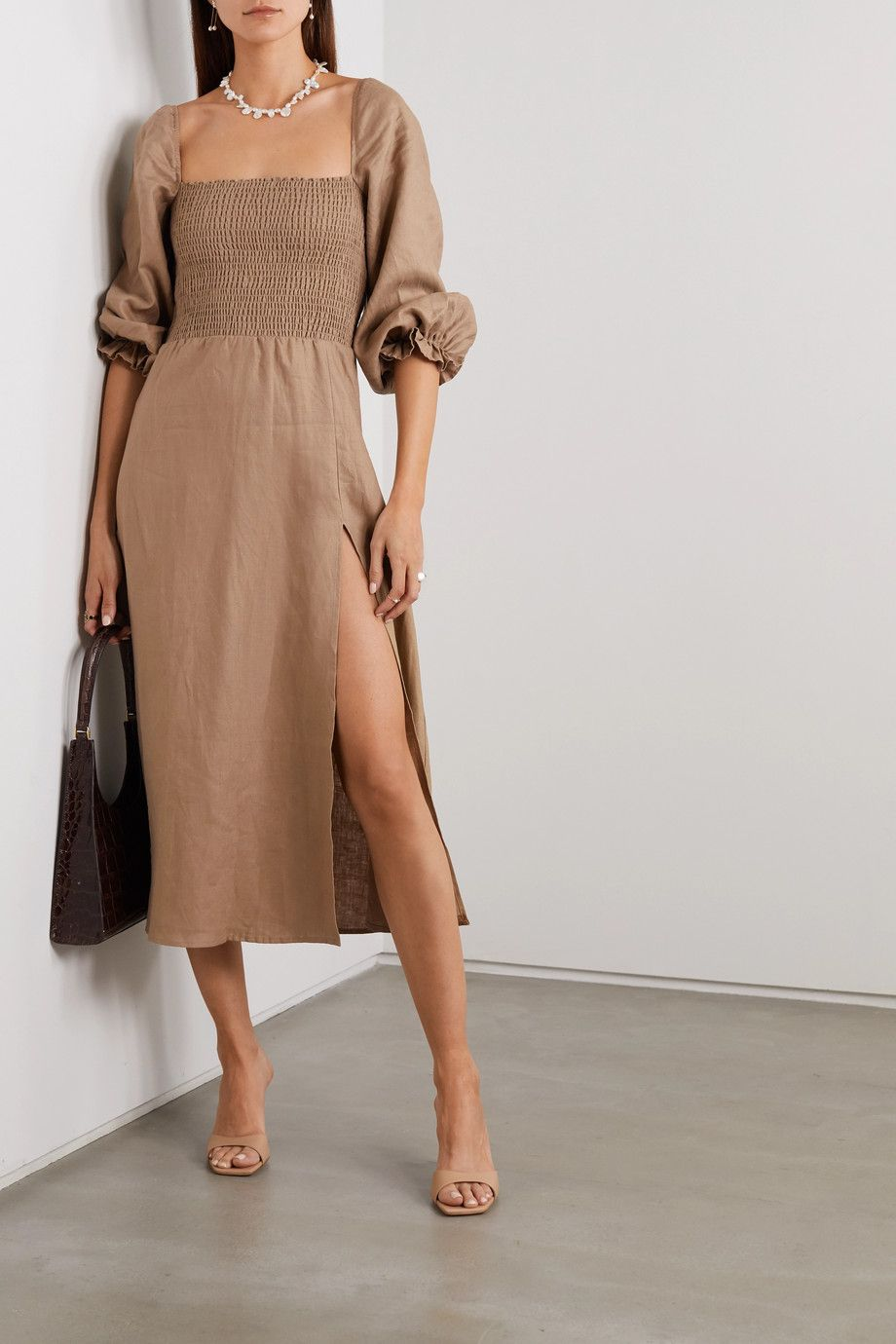 Dark Green Net Sustain Gitane Smocked Linen Midi Dress Reformation Linen Dress Women Linen Midi Dress Mini Dress Casual [ 1380 x 920 Pixel ]