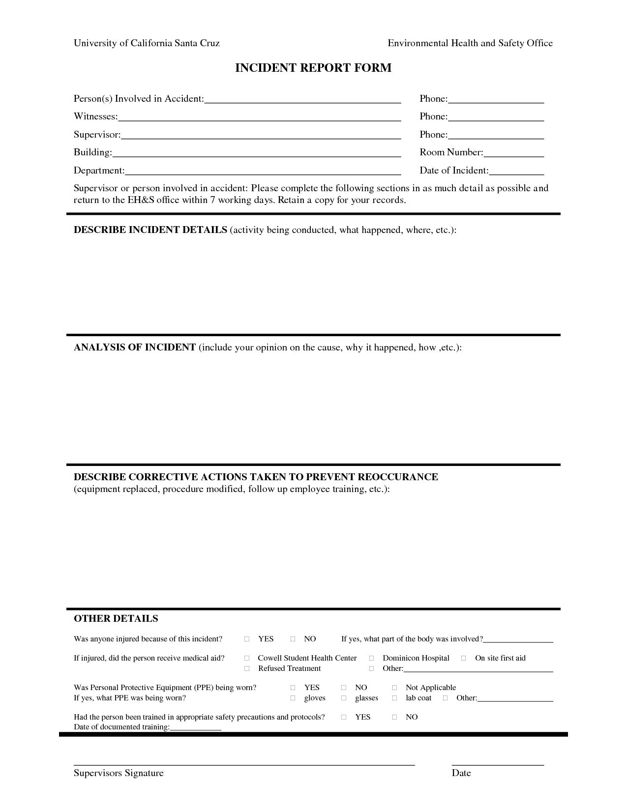 Best Photos Of Human Resources Incident Report Template Within