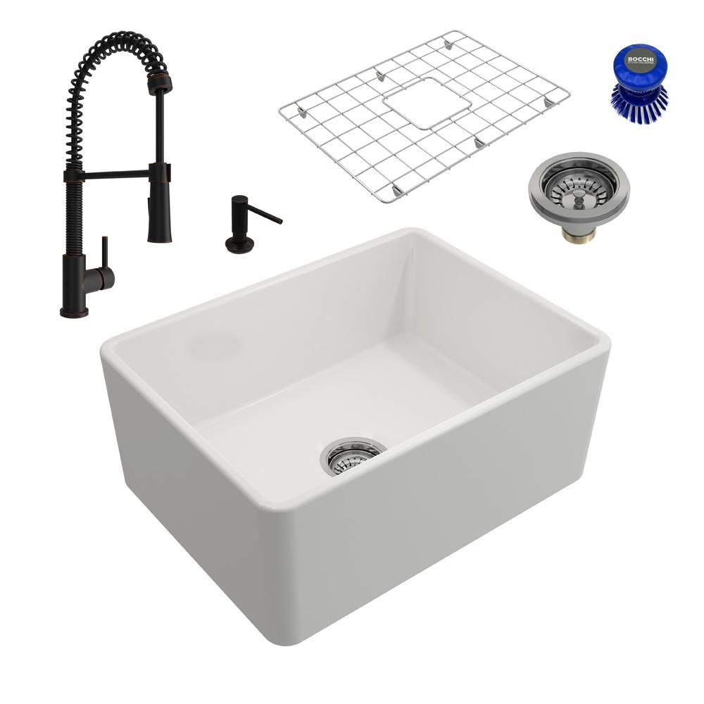 Bocchi Classico All In One Farmhouse Fireclay 24 In Single Bowl Kitchen Sink With Livenza Rubbed Bronze Faucet And Soap Disp White Single Bowl Kitchen Sink Sink Brushed Nickel Faucet