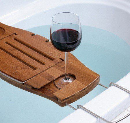 $49.99 Bamboo and Chrome Bathtub Caddy: Relax for hours in the tub ...