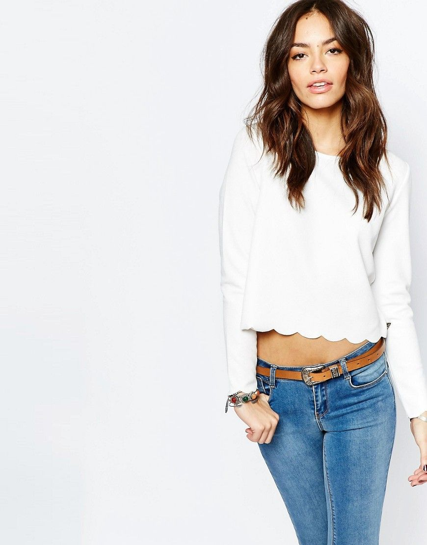 Image 1 of New Look Scallop Detail Top