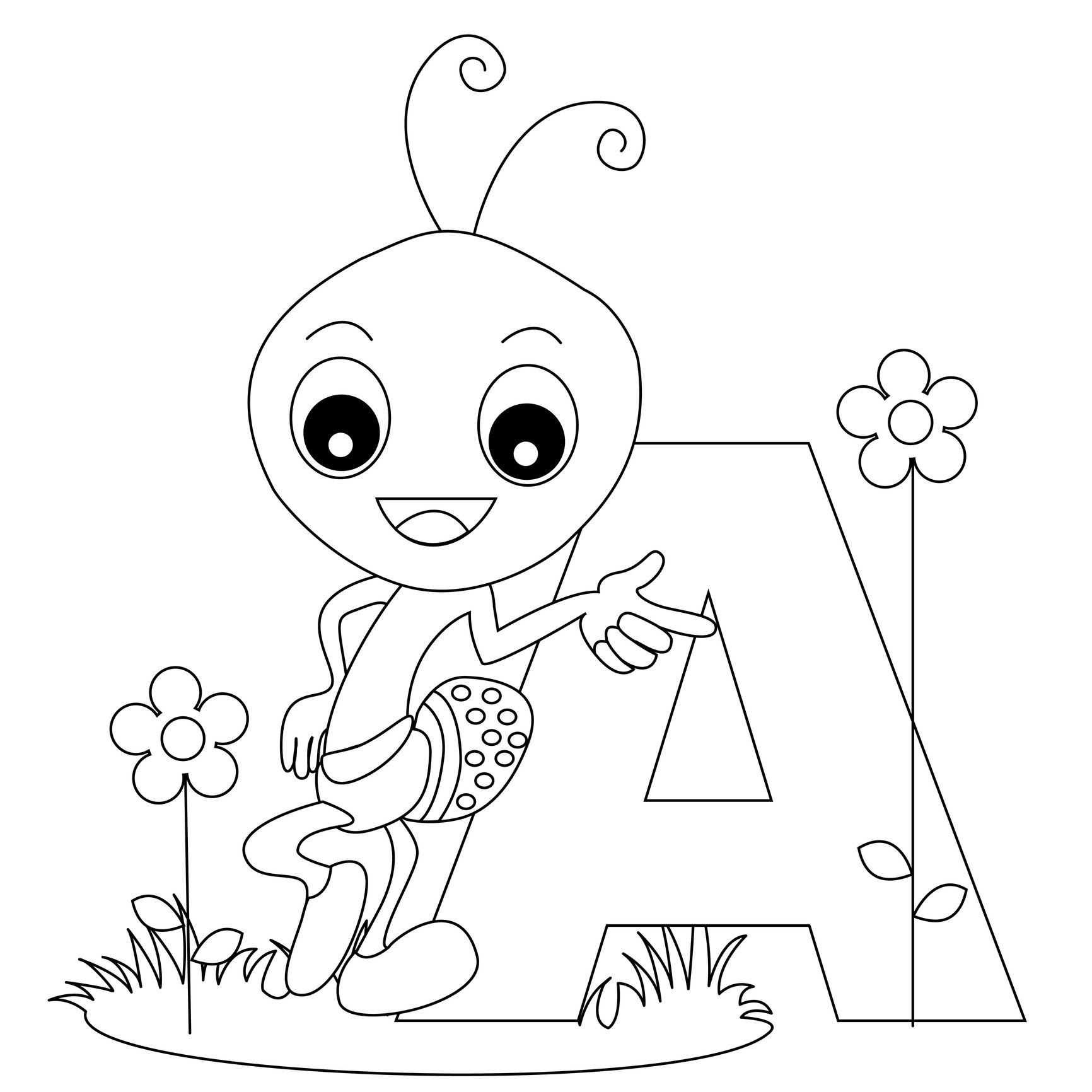 English Alphabet Coloring Pages : Animal alphabet letters letter a
