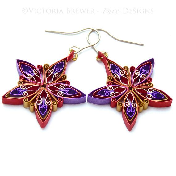 Christmas earrings Quilling paper jewellery jewelry Design and