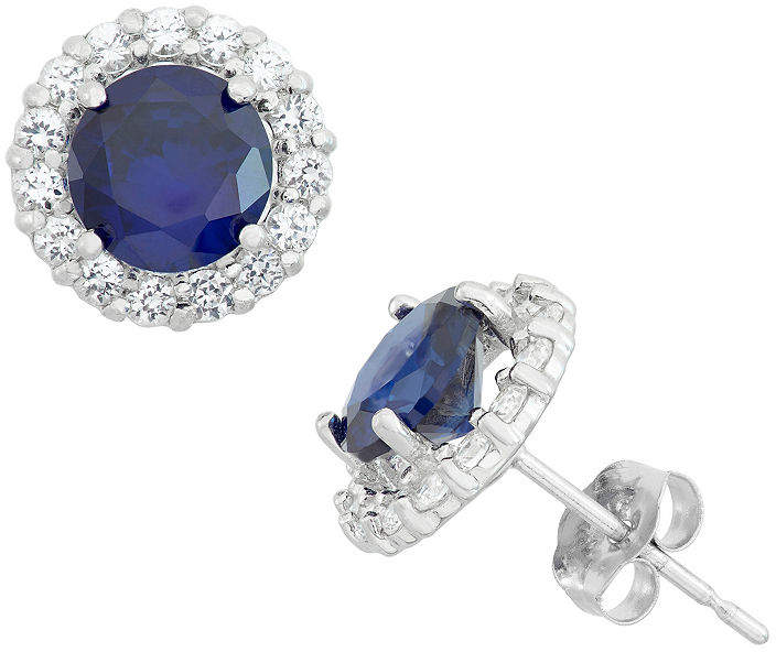 Fine Jewelry Round Blue Sapphire 10k Gold Stud Earrings Sapphire Studs Classic Diamond Earrings Sapphire Earrings Studs