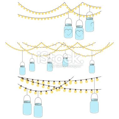 Vector Set Of Hanging Glass Jar Lights And Bunting No Transparencies Mason Jar Clip Art Hanging Mason Jar Lights Jar Lights