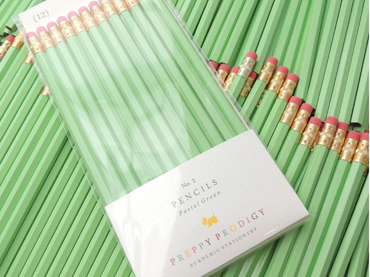 Pastel Green Pencils Set of 12 Preppy School by PreppyProdigy, $7.50