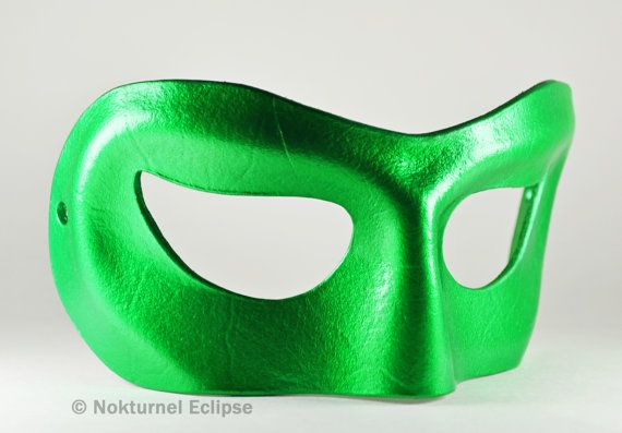 Male Green Leather Masquerade Mask Super Hero by NokturnelEclipse, $29.99