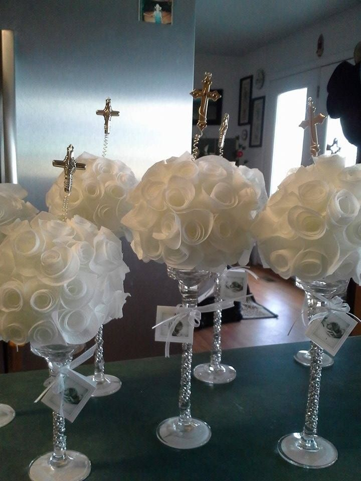 Centros de mesa para bautizo by QumirCreations♥ Ideas para el
