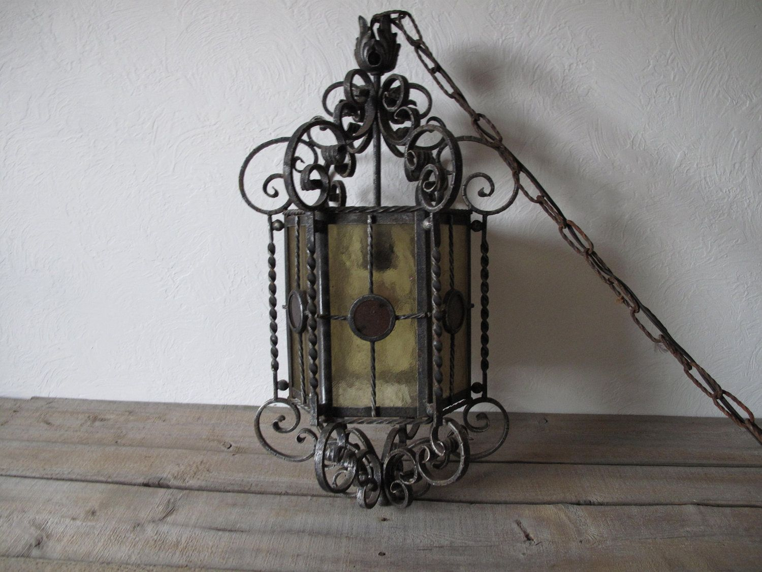 Vintage Wrought Iron Light Vintage Hanging Light Stained Glass Light Pendent Light Amber Red Scrow Wrought Iron Lights Stained Glass Light Hanging Lights