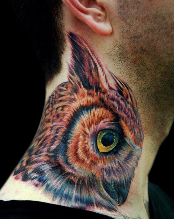 55 Awesome Owl Tattoos | Tattoo art | Owl neck tattoo ...