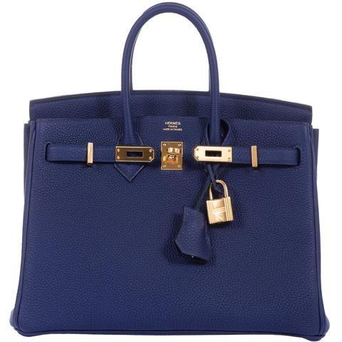 049f817394ef Hermes Birkin 25 Blue Encre (Ink) Togo Gold Hardware