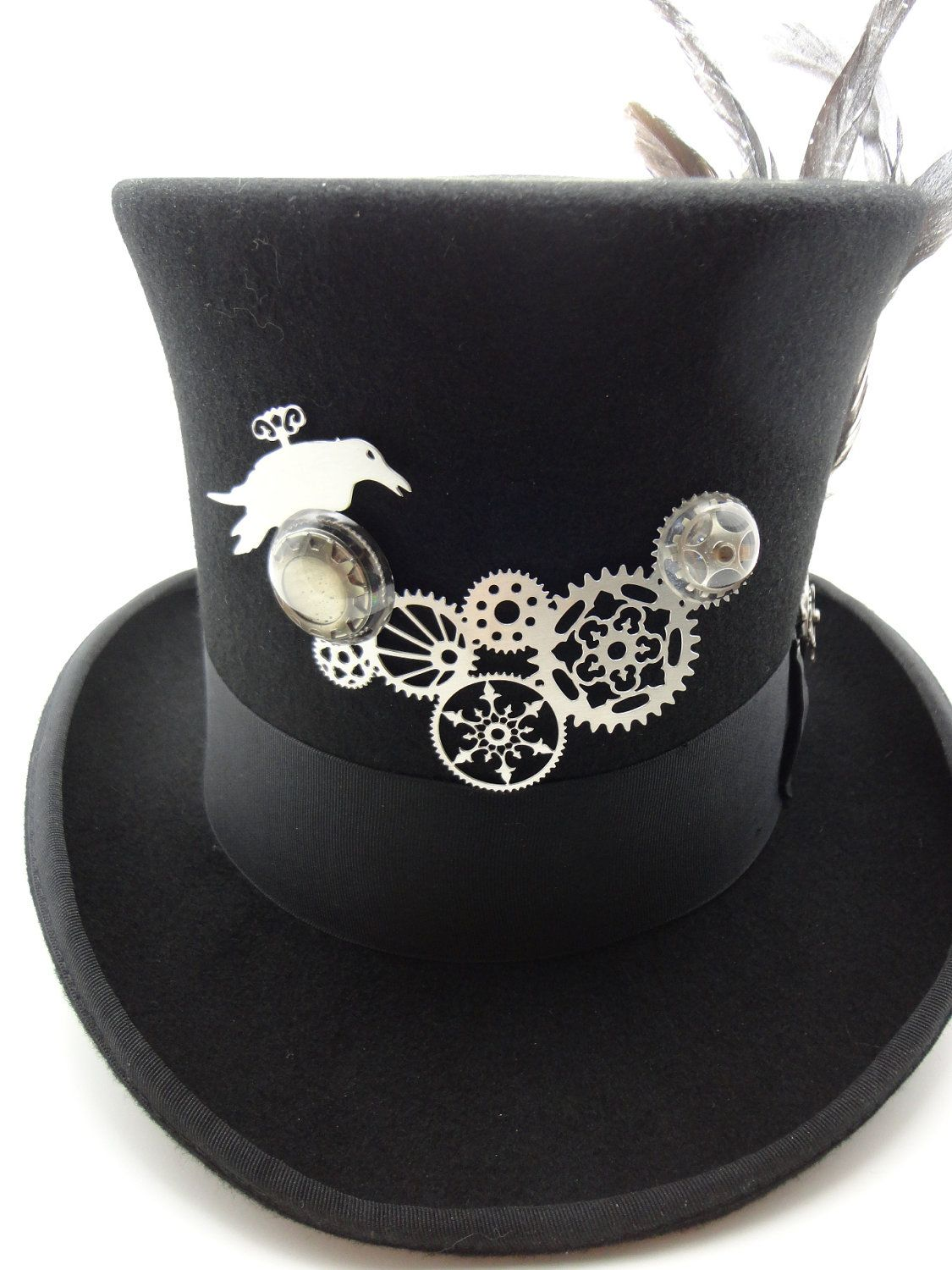 Steampunk Hat Black Top Hat in Wool Felt Size with Large