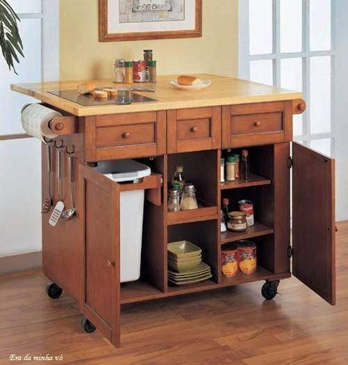 Home Interior Small Kitchen Cart Wooden