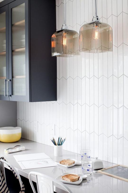 colourful ceramic tile backsplash for modern kitchen | Kiln Ceramic Chevron Tile | 103 Colors in 2019 | Kitchen ...