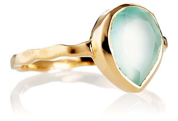 Mini Chalcedony Teardrop Ring