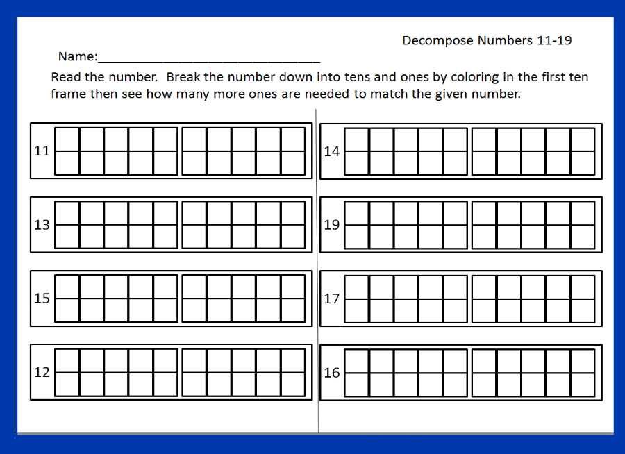 Worksheet from Numbers 1119 packet This packet has 25 plus – Composing and Decomposing Numbers Worksheet