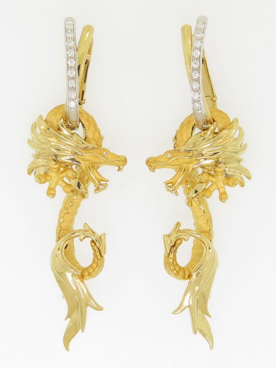 Carrera Diamond Gold Dragon Earrings