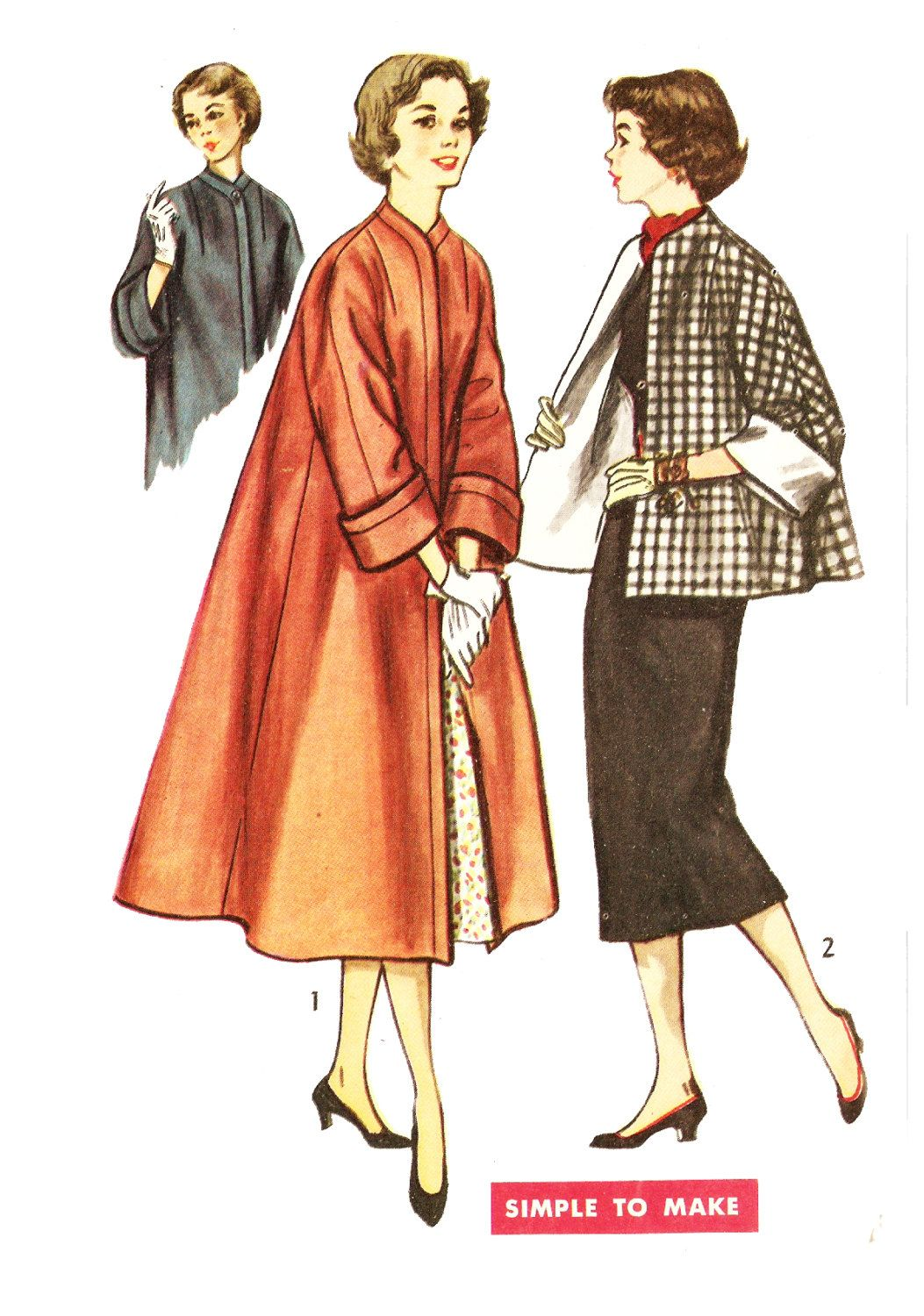 08b1a0174 Simplicity 4191 Misses' Vintage 1950s Swing Coat or Topper Jacket ...