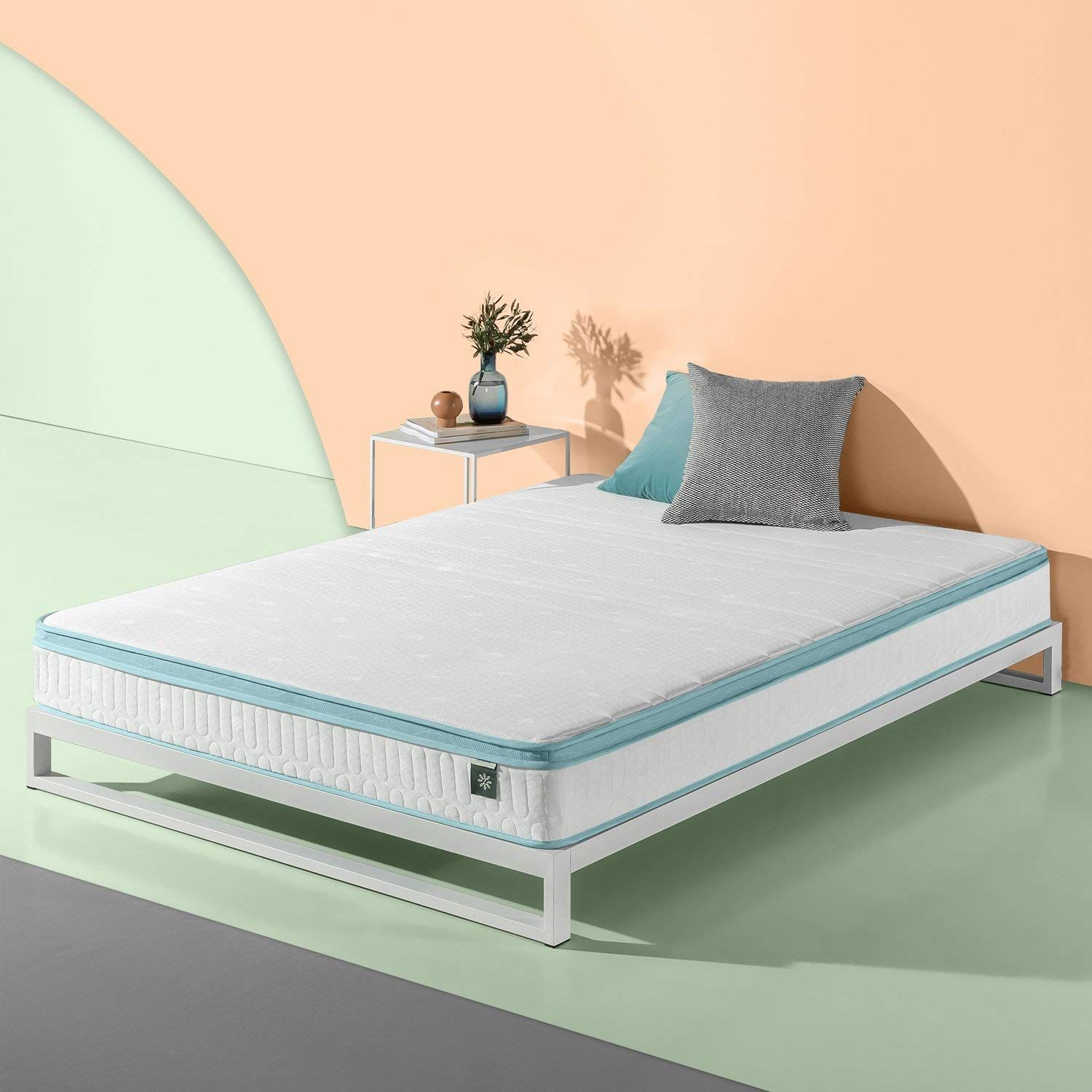 Zinus 8 Inch Mint Green Memory Foam Hybrid Spring Mattress