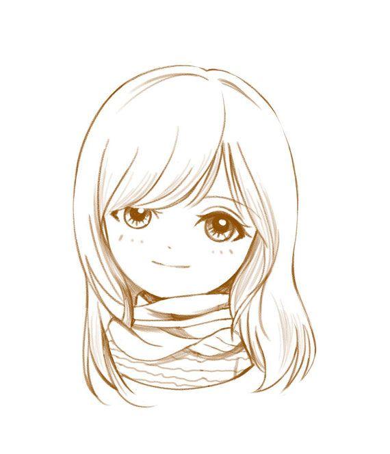 Custom Anime Portrait Chibi Portrait Sketch Cartoon Portrait