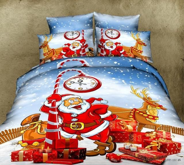 rust orange red and blue happy christmas santa claus with clock and deer print classic kids holiday full size bedding sets
