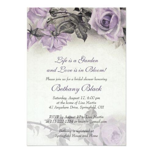 Sterling Silver Purple Rose Bridal Shower Invite