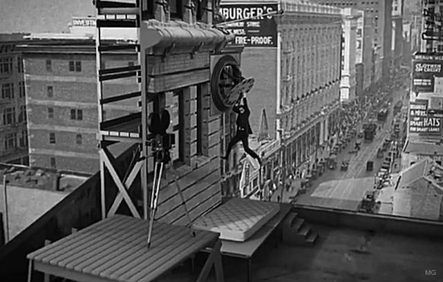 Harold Lloyd, Safety Last! - The silent film star tried to make sure his 1923 classic didn't live up to its title. Here's a shot of the legendary clock sequence in the movie, using a prop clock face on a fake wall constructed on an actual skyscraper.
