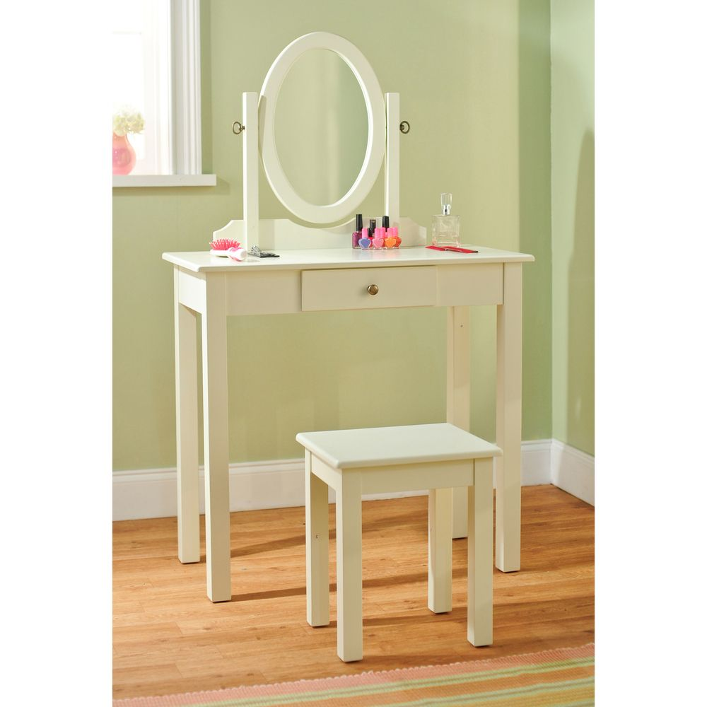 Vanity Table with Mirror and Stool 3-piece Set | Overstock ...