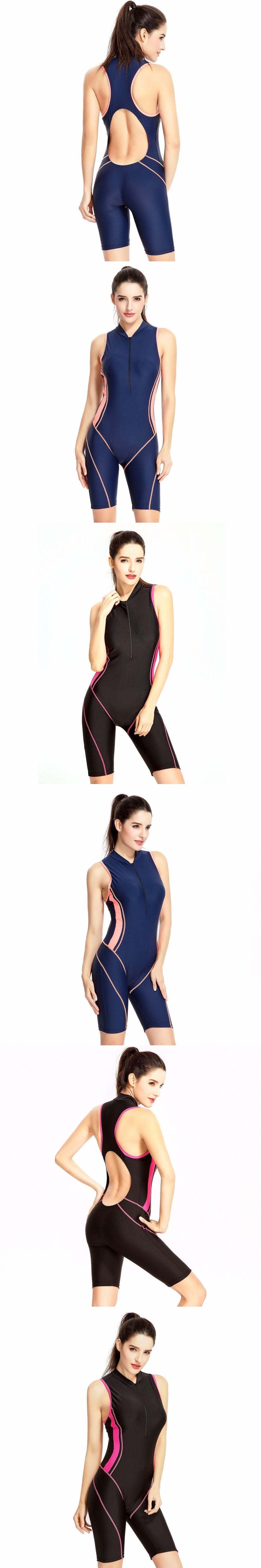 2441ea340 Professional Women s Full Body Swimsuit Zipper Front Kneeskin Tech Suit  Racing Competition Swimsuit Sport Swimming Suit