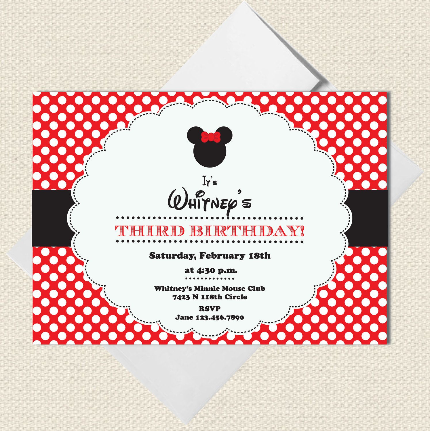 Red Minnie Mouse Party invitations Disney by LittlePigPress. $15.00 ...