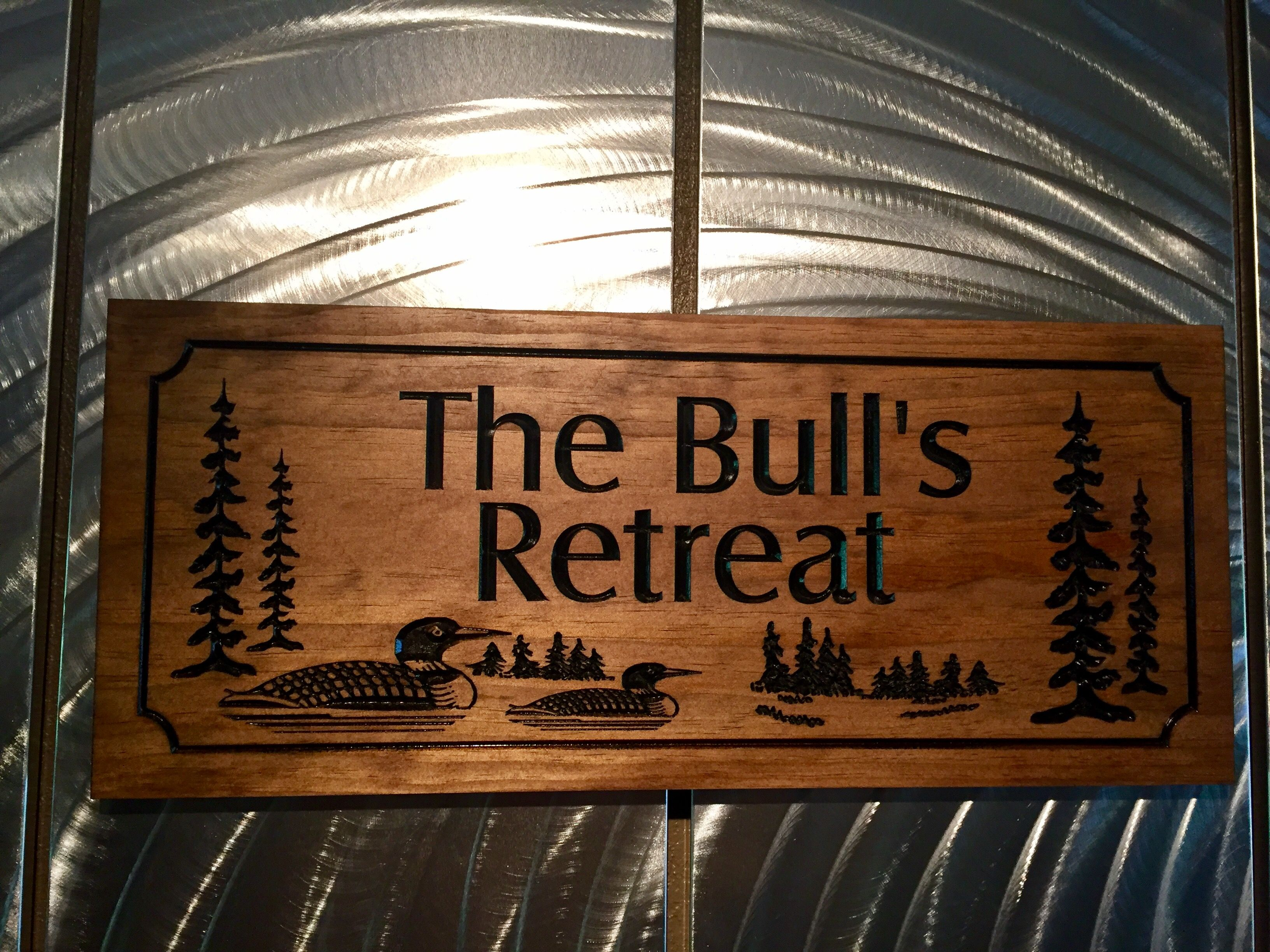 Wood Carved Personalized Sign With Loons And Pine Trees Custom Wood Signs Camping Signs Wood Signs
