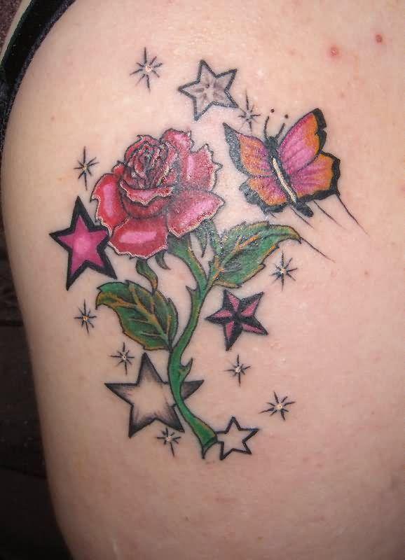 Rose Stars Butterfly Tattoo Design Tattoobitecom Ink Me
