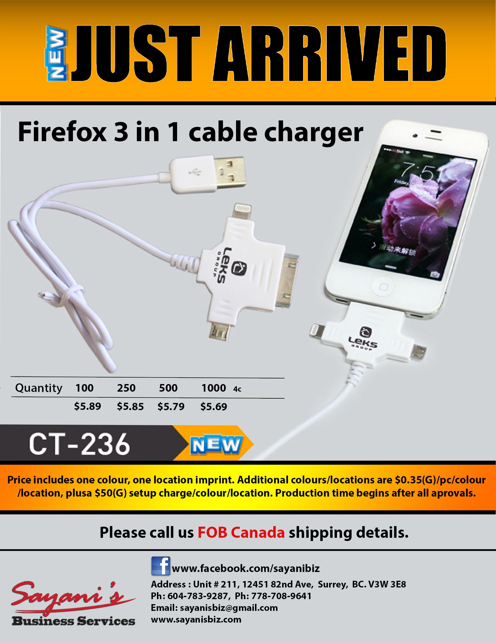 Get Firfox 3 in 1 cable chargers ...  Sayani's Business Services provides the best quality products as you want!