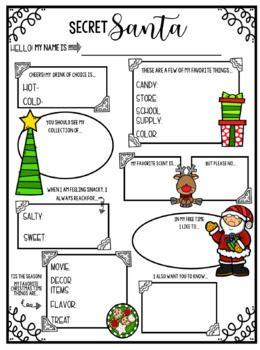 Secret Santa Questionnaire #secretsantaideas