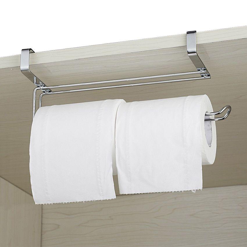 STAINLESS STEEL KITCHEN ROLL HOLDER SUCKER TISSUE PAPER TOWEL RACK OVER DOOR