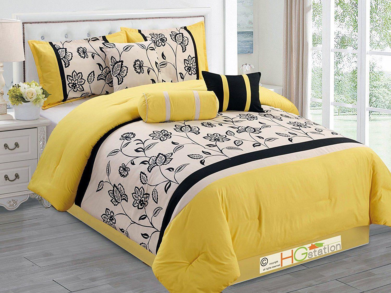 7 Pc Flocking Floral Garden Striped Comforter Set Yellow Black Ivory  Off White Queen