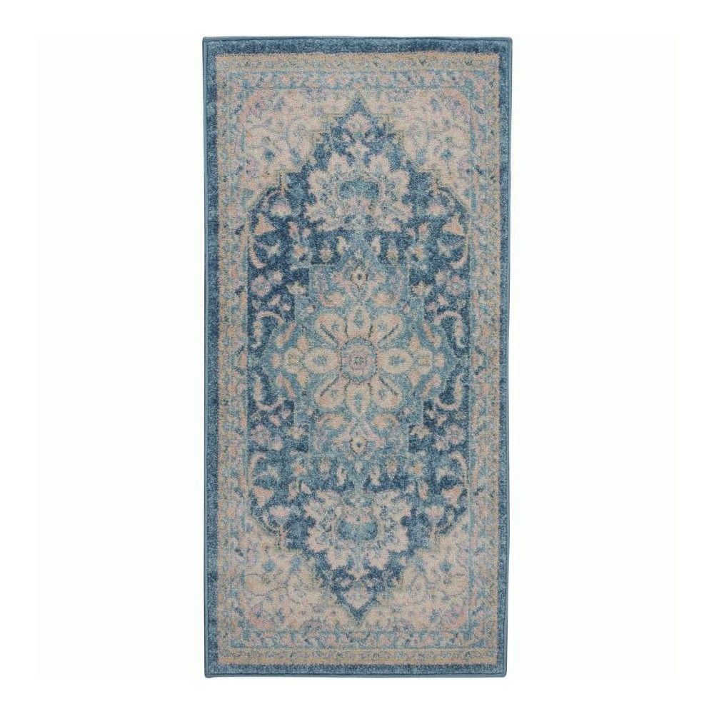 Nourison Tranquil Tra07 Ivory Turquoise Indoor Area Rug 4 X 6