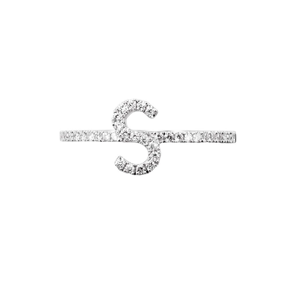 """SANS ALPHABET S"" DIAMOND INITIAL RING by Plukka Diamond & 18K White Gold Ring."