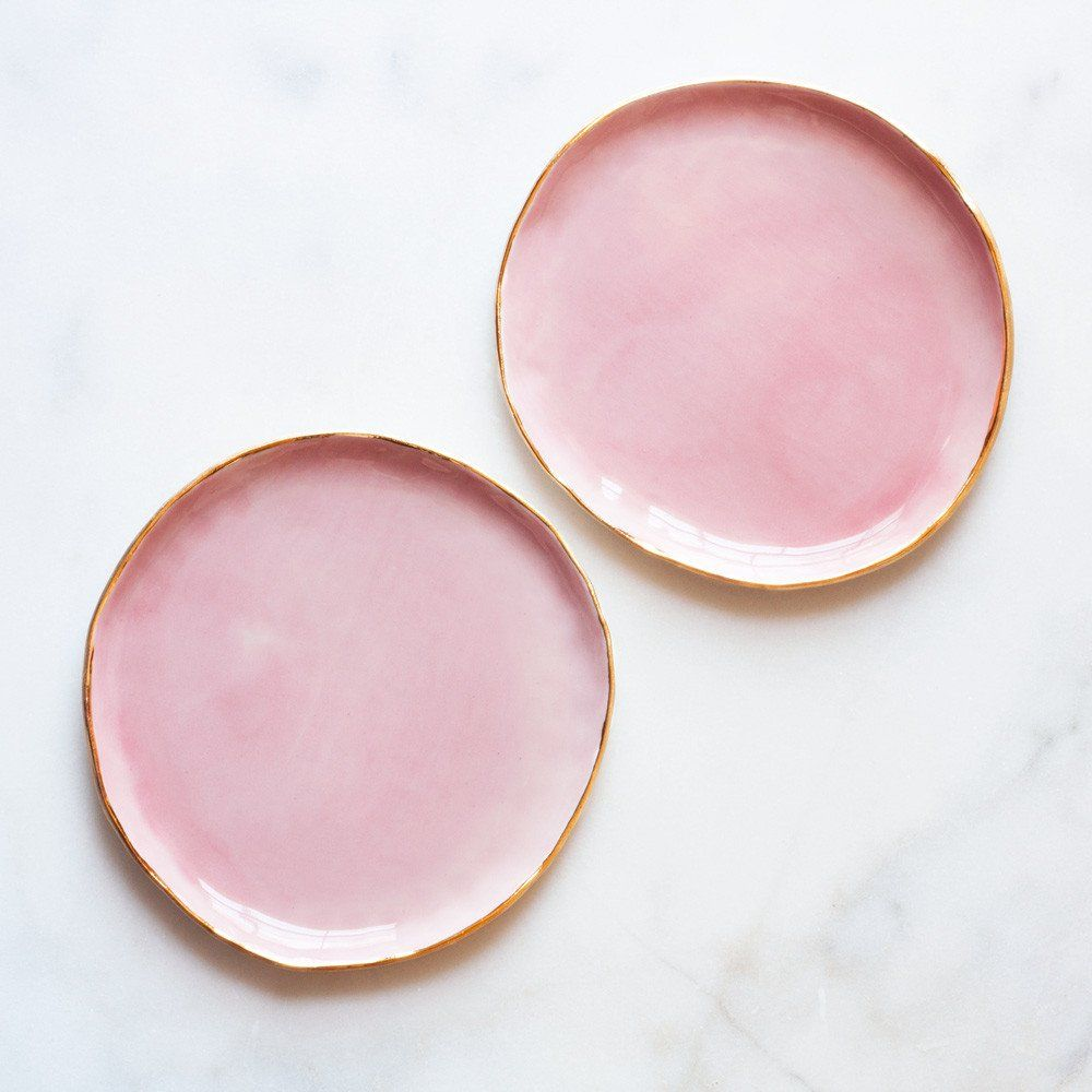 dessert plates in rose and gold (set of two)  studios dessert  - dessert plates in rose and gold (set of two)