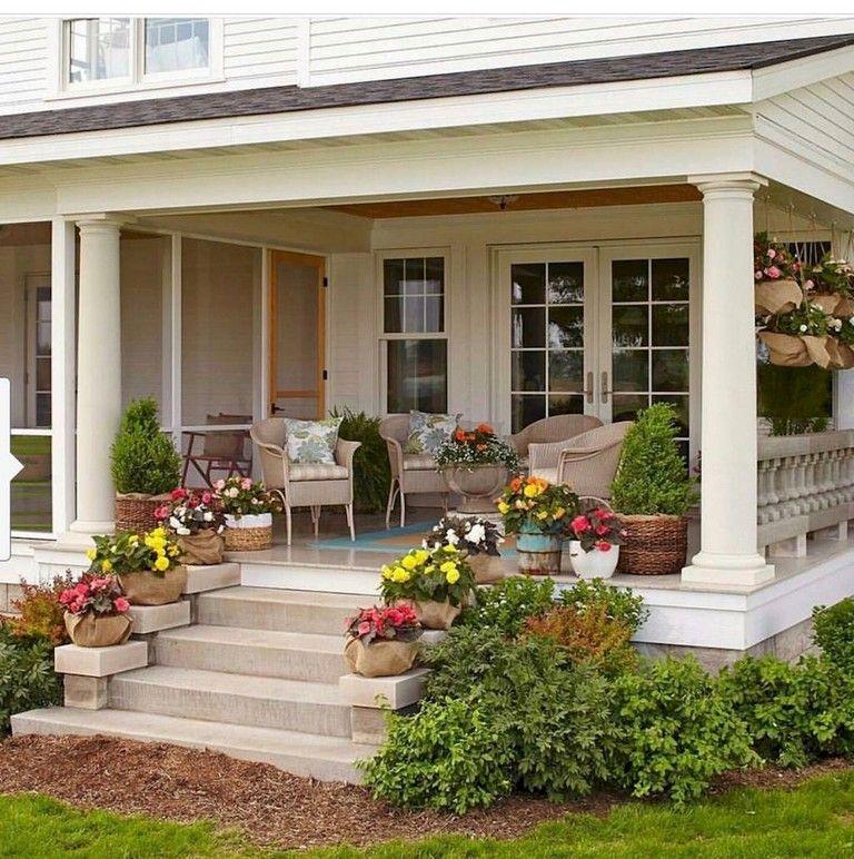 35 Beautiful Farmhouse Front Porch Steps Ideas