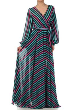 NEW Navy Multi Stripe Chiffon Dress in Brown Sugar Collection