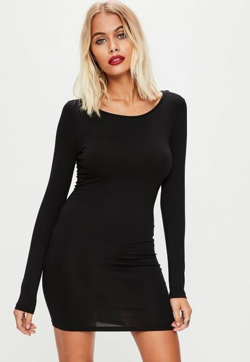 1a62f4eb28ae Missguided Black Long Sleeve Plain Jersey Bodycon Dress | Products ...