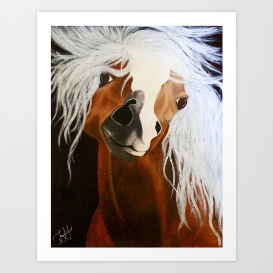Horse portrait showing the inner carefree, whimsical essence of the soul. Horse was done with Prismacolor soft core pencils with hues like chestnut brown to light cream. The background was achieved with sharpie marker. The horse's mane was done with acrylic gesso to get the texture and the look of its hair.