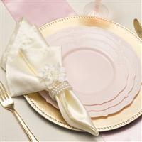 1602 10\  Vintage Light Pink Plastic Dinner Plates & 1602 10\