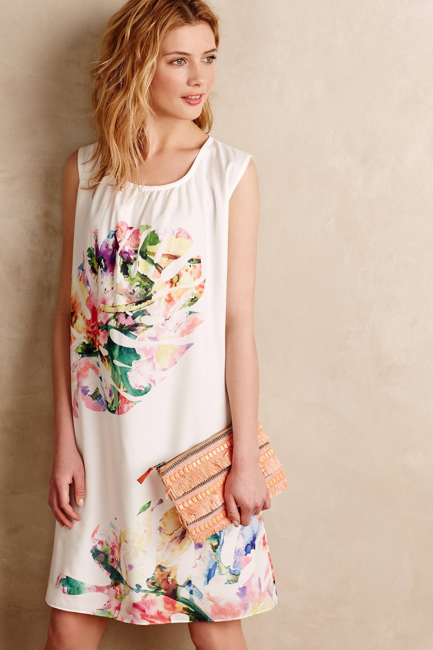 Feathered Palm Swing Dress - anthropologie.com