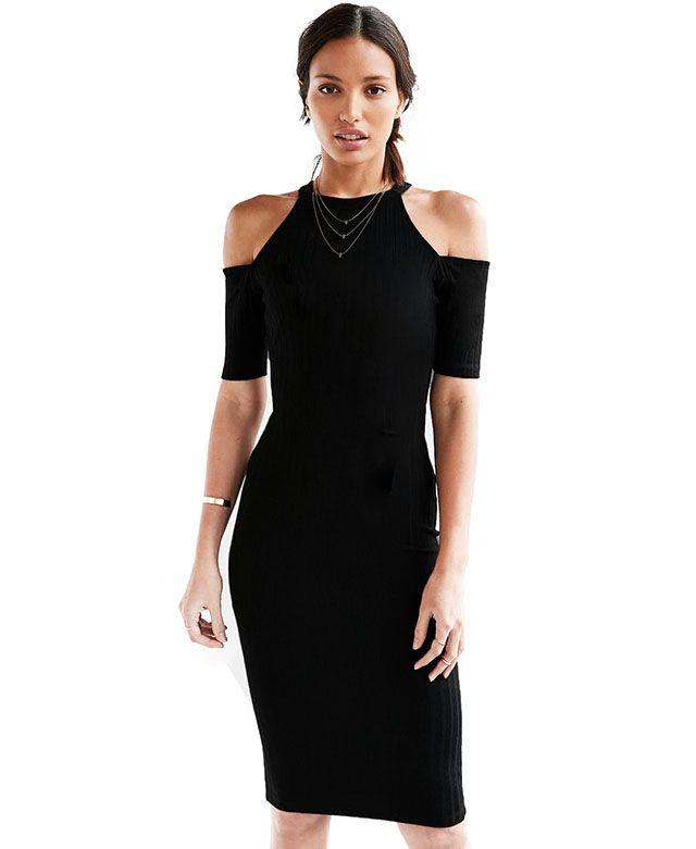 Cold Shoulder Bodycon Midi Dress